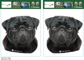 Pug Zwart / Mops hond setje 2 stuks OP=OP