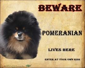 waakbord Pomeranian Black and Tan. Per set van 2 waakborden UITVERKOCHT