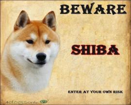 Waakbord Shiba Inu  Rood (Engels) UITVERKOCHT