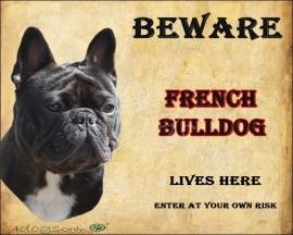 Waakbord Franse Bull Zwart  / French Bulldog Black Per set van 2 waakborden UITVERKOCHT