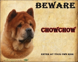 Waakbord Chow Chow Rood kortharig UITVERKOCHT