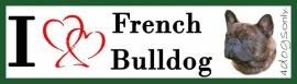 I LOVE Franse Bulldog Gestroomd OP=OP