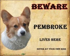 Waakbord Pembroke Welsh Corgi. OP=OP