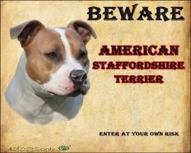 Waakbord American Staffordshire Terrier / Am. Staff. (Engels) 01. UITVERKOCHT