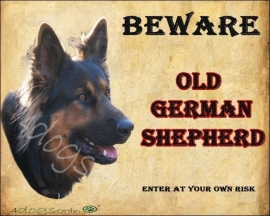 Waakbord Old German Shepherd / Duitse Herder. Per set van 2 waakborden UITVERKOCHT