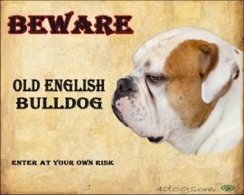 Waakbord Old English Bulldog Bont Rood (Engels). Per set van 2 waakborden