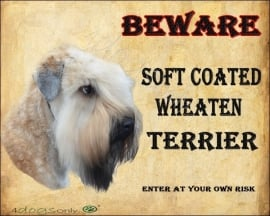 Waakbord Soft Coated Wheated Terrier. Per set van 2 waakborden UITVERKOCHT