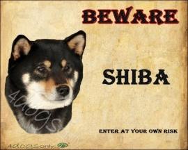 Waakbord Shiba Inu Black &Tan (Engels) per set van 2 waakborden UITVERKOCHT