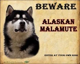 Waakbord Alaskan Malamute Zwart (Engels) UITVERKOCHT