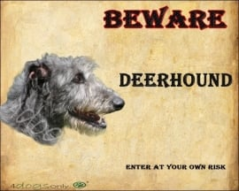 Waakbord Deerhound (Engels). OP=OP
