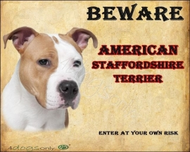 Waakbord American Staffordshire Terrier / Am Staff.  (Engels). 02 Per set van 2 waakborden UITVERKOCHT