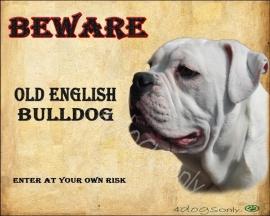 Waakbord Old English Bulldog Wit (Engels). Per set van 2 waakborden UITVERKOCHT