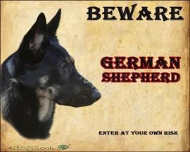 Waakbord Duitse Herder / German Shepherd (Engels). Per set van 2 waakborden UITVERKOCHT
