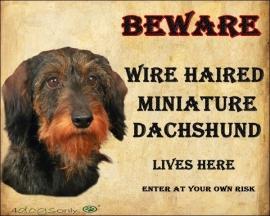 waakbord wire haired miniature dachshund  Per set van 2 waakborden UITVERKOCHT