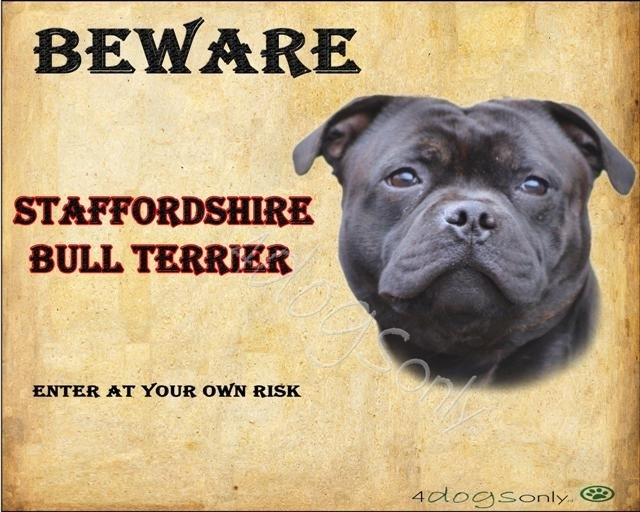 Waakbord English Staffordshire Bull Terrier (Engels) Zwart  (UITVERKOCHT)