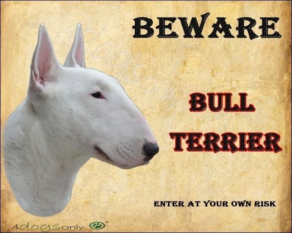 Waakbord Bull Terrier Wit. Per set van 2 waakborden
