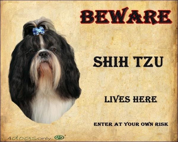 Waakbord Shih Tzu Zwart (Engels) Per set van 2 waakborden
