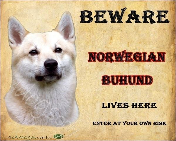 Waakbord Norwegian Buhund. Per set van 2 waakborden UITVERKOCHT