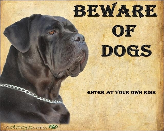 Waakbord Cane Corso zwart (Engels) (Dogs) (UITVERKOCHT)