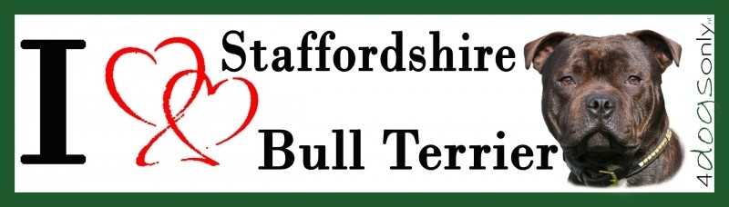 I LOVE English Staffordshire Bull Terrier Gestroomd UITVERKOCHT