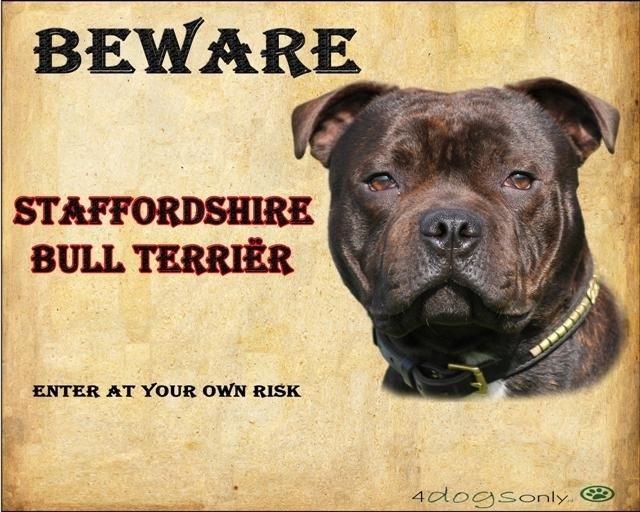Waakbord Engelse Staffordshire Bull Terriër  (Engels) (02)  (UITVERKOCHT)