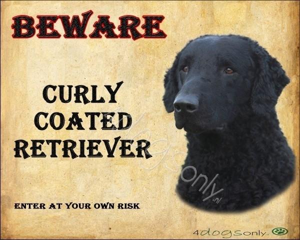 Waakbord Curly Coat Retriever Zwart (Engels). Per set van 2 waakborden UITVERKOCHT