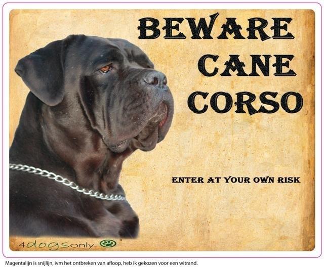 Waakbord Cane Corso zwart (Engels) (B.CC) OP=OP