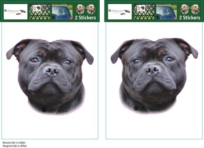 Engelse Staffordshire Bull Terrier Zwart setje 2 stuks