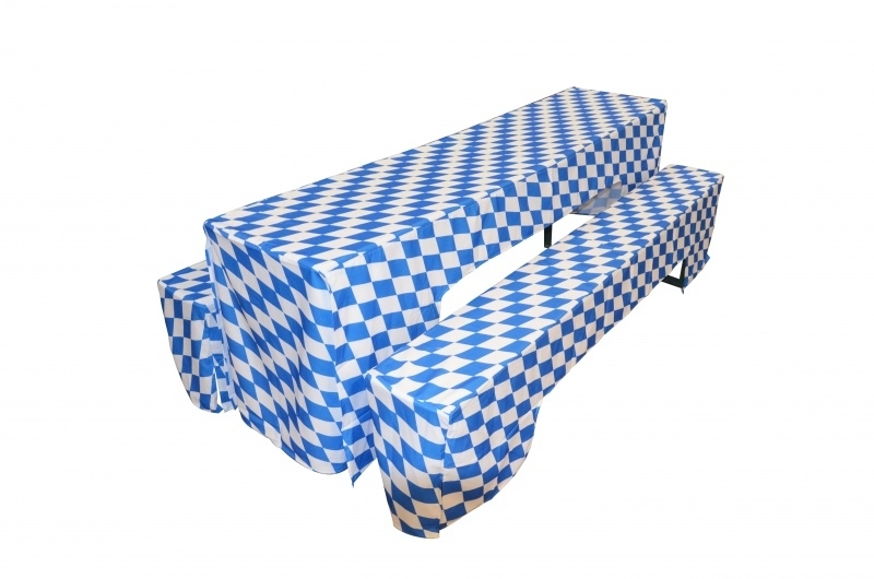 Biertischhussenset 220 x 50 cm Blau / Weiß Oktoberfest München