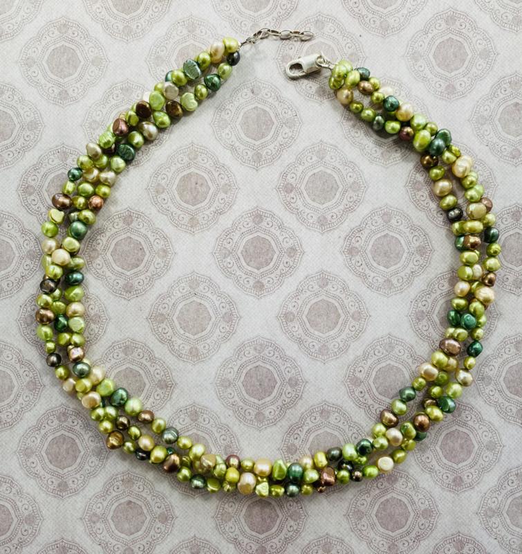 Collier Zoetwaterparel groen