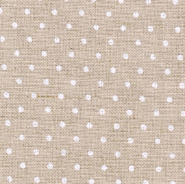 Zweigart - Belfast (12.6 dr/cm - 32 ct) - kleur 5379 - Petit Point (naturel met wit bolletje)