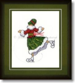 Liebevolle Kreuzstichentwürfe - M-377-15 - Eislaufmädchen (rood/groen)