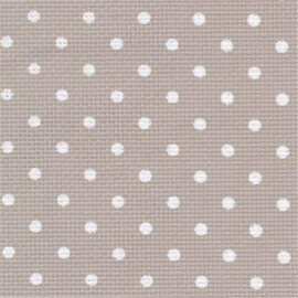 Zweigart - Aïda Extra-fine (8 st/cm - 20 ct) - kleur 3189 (beige met witte bollen)