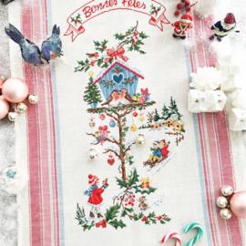 Les Brodeuses Parisiennes - Petite Maison de Noël (torchon - lin)