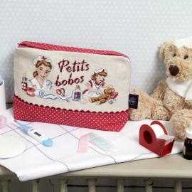 """Les Brodeuses Parisiennes - Trousse """"Petits bobos"""" (lin)"""