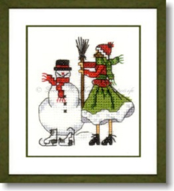 Liebevolle Kreuzstichentwürfe - M-378-15 - Mädchen mit Schneemann (rood/groen)
