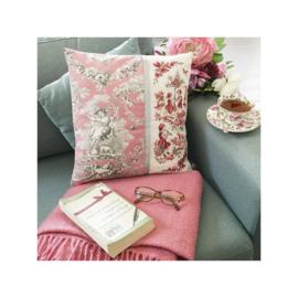 """Les Brodeuses Parisiennes - Kussen-overtrek """"Toile de Jouy"""" roze (linnen)"""