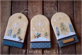 Fleurs de Lin - Trio d'étiquettes d'Hiver