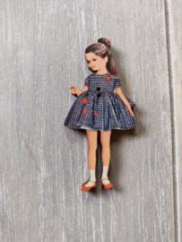 """Atelier Bonheur du Jour - Knop """"Meisje met blauw kleedje"""""""