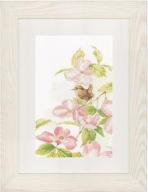 Lanarte - PN-0149990 - Pink flowers with a little bird