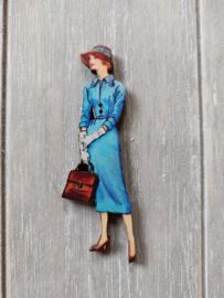 "Atelier Bonheur du Jour - Knop ""Dame  met blauw kleed"""