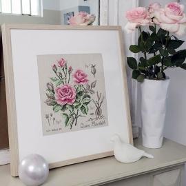 """Les Brodeuses Parisiennes - Etude à la rose """"Queen Elisabeth"""" (linnen)"""
