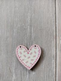 """Atelier Bonheur du Jour - Hart """"roze met bloemetjes"""""""