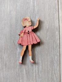 """Atelier Bonheur du Jour - Knop """"Meisje met roze kleedje"""""""