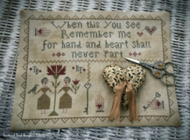 "Scattered Seed Samplers - ""Hand & Heart"" Stitcher's Mat"
