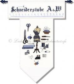 B-158-11 Kleines Schneidermustertuch mit alphabet, bleu