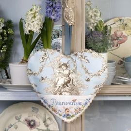 Les brodeuses Parisiennes - Coeur Toile de Jouy Bleu (aïda)