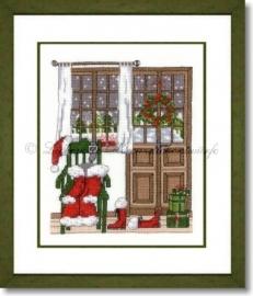 Liebevolle Kreuzstichentwürfe - Santas Haustür