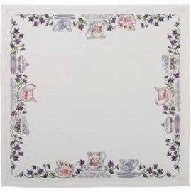 DMC - RK326 - Purple flowers & Crockery Tablecloth (Nappe mauve et vaisselle)