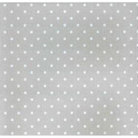Zweigart - Aïda Extra-fine (8 st/cm - 20 ct) - kleur 7349 (grijs met witte bollen)